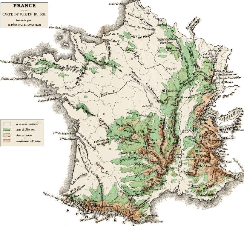 Carte Alsace En Relief.Carte Du Relief De La France